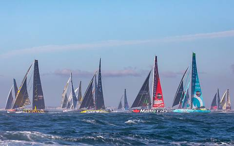 The boats waiting for the start of the Vendée Globe
