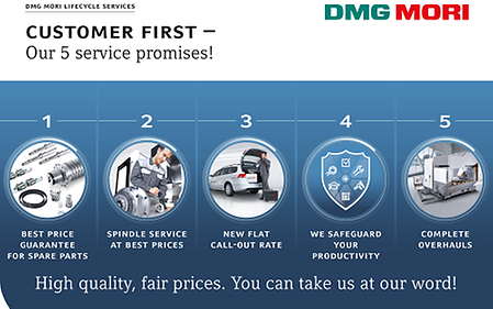 DMG MORI guarantees customers maximum service quality at fair prices with five service promises.